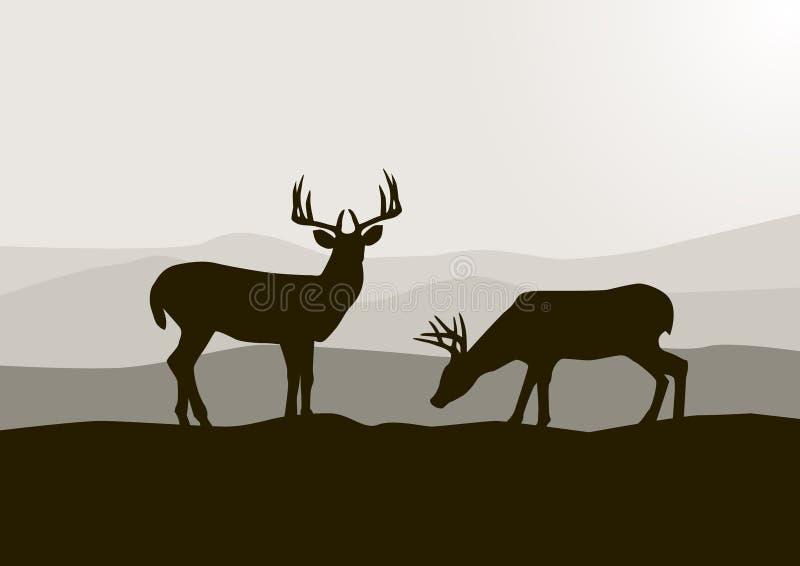 силуэт оленей Стоковые Изображения RF
