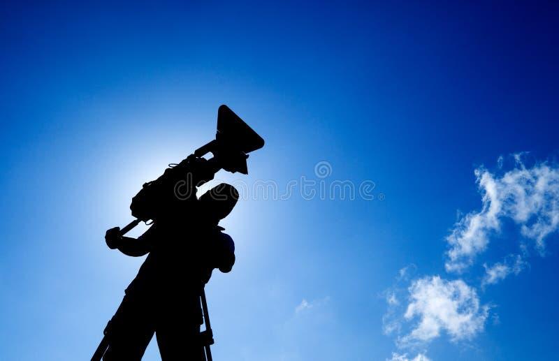 силуэт оператора стоковая фотография rf