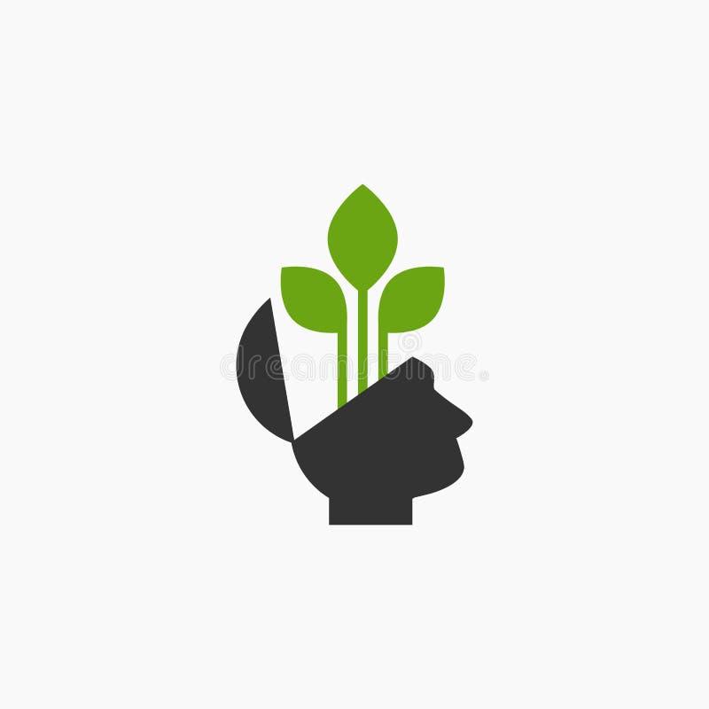 Силуэт открытой головы с зелеными хворостинами Пиктограмма экологичности думая иллюстрация вектора