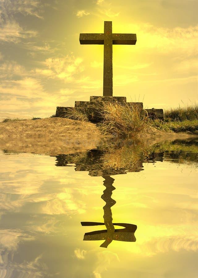 силуэт отраженный крестом стоковое изображение
