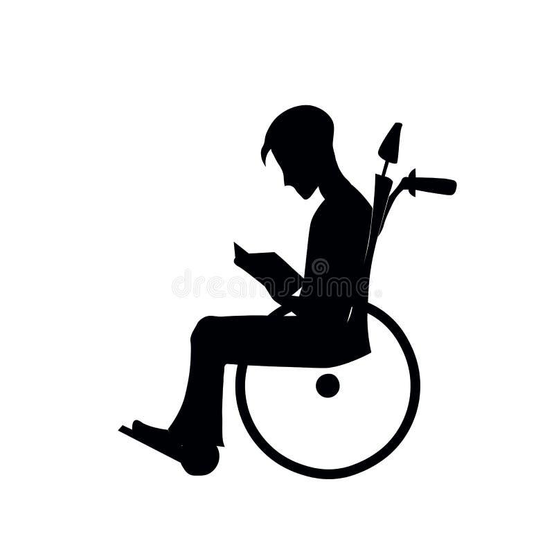 Силуэт парализовыванного человека в кресло-коляске, стоковые фотографии rf