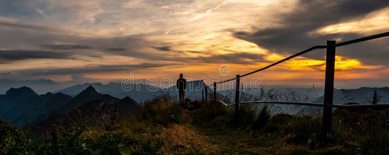 силуэт парня наблюдая на взгляде панорамы от верхнюю часть горы к озеру во время захода солнца, rothorn Швейцарии brienzer стоковые изображения rf