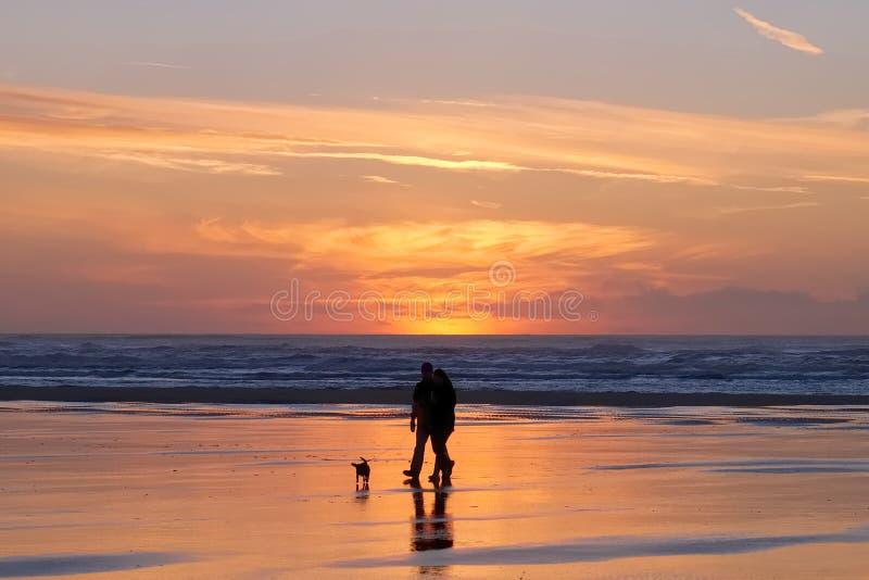 Силуэт пар и собаки во время захода солнца стоковая фотография rf