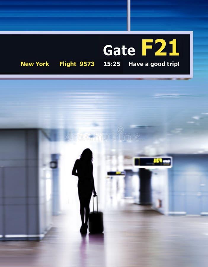 силуэт пассажира авиапорта стоковые изображения
