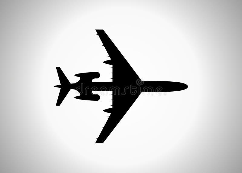Силуэт пассажирского самолета, значок Предпосылка вектора изолированная иллюстрацией светлая иллюстрация вектора