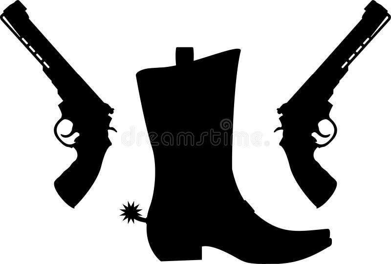 Силуэт пистолетов и ботинка с шпорами иллюстрация штока