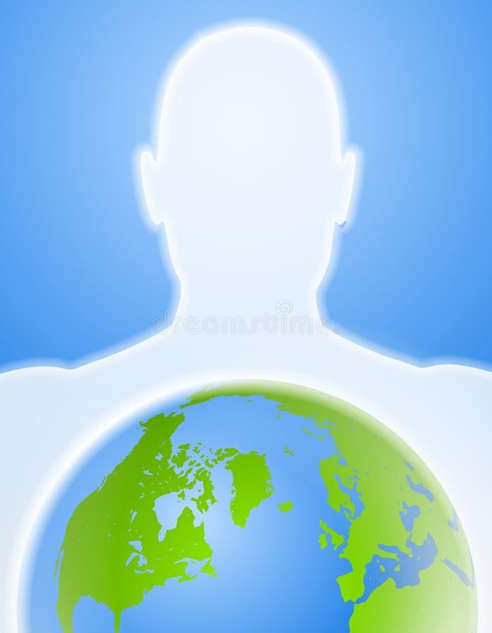 силуэт планеты земли головной иллюстрация вектора