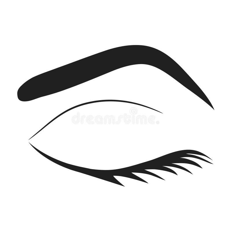 Силуэт плеток глаза и брови, иллюстрации вектора запаса иллюстрация вектора