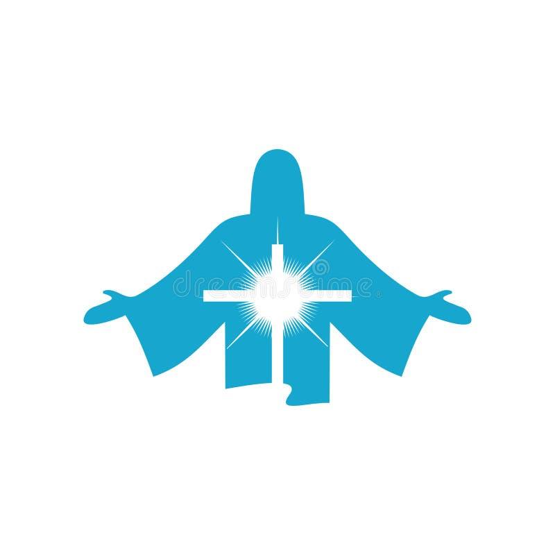 Силуэт поднятого Иисуса Христоса лорда и спасителя и сияющего взаимного символ смерти Христоса для наших грехов иллюстрация штока