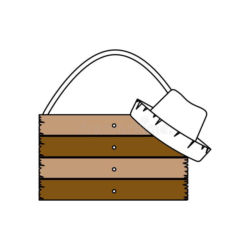 Силуэт разделов цвета деревянной доски с веревочкой и соломенной шляпы с толстым контуром иллюстрация штока