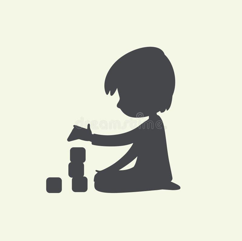 Силуэт ребенка играя с блоками игрушки Смогите быть использовано как логотип или знак Иллюстрация вектора черно-белая иллюстрация штока