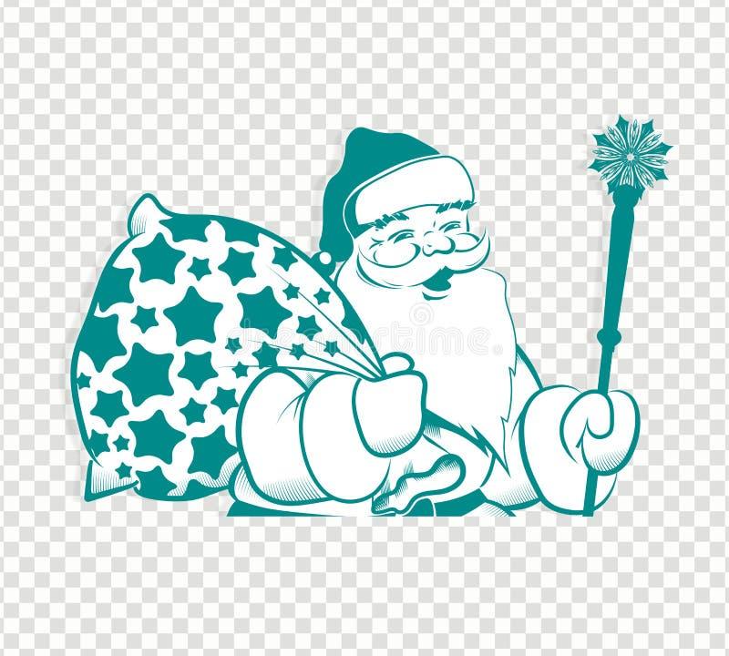 Силуэт рождества бежа Санта Клауса, белый со штатом и сумкой иллюстрация вектора