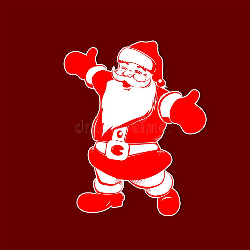 Силуэт рождества красный белый Санта Клауса с оружиями отделенными иллюстрация вектора
