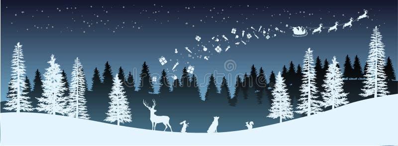 Силуэт рождества Панорама саней катания Санта Клауса с оленями Ландшафт Нового Года зим Предпосылка праздников иллюстрация штока
