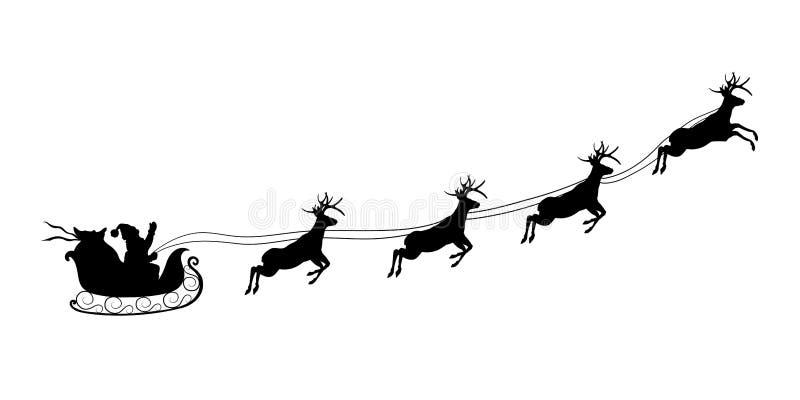 Силуэт рождества черный Сани катания Санта Клауса с оленями Ландшафт Нового Года зим Предпосылка праздников иллюстрация штока
