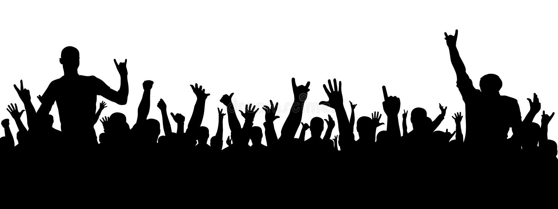 Силуэт рок-концерта Толпа людей на партии Жизнерадостный силуэт толпы Люди партии, аплодируют иллюстрация вектора