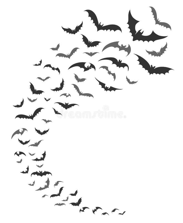 Силуэт роя летучих мышей бесплатная иллюстрация