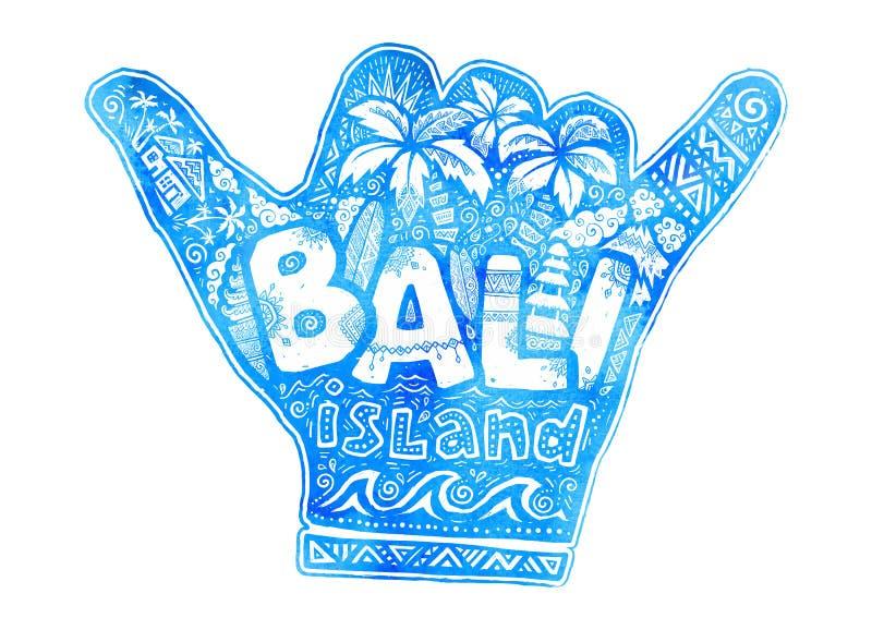 Силуэт руки shaka голубого вида акварели свободный с белым помечая буквами островом Бали внутрь Серфинг стиля doodle вектора иллюстрация вектора