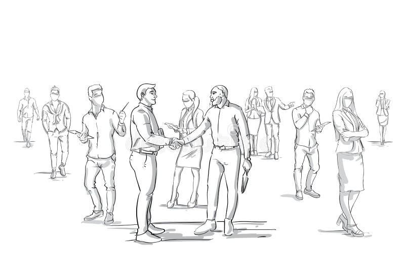 Силуэт рукопожатия 2 бизнесменов над толпой группы предпринимателей, боссом бизнесменов тряся руки иллюстрация штока