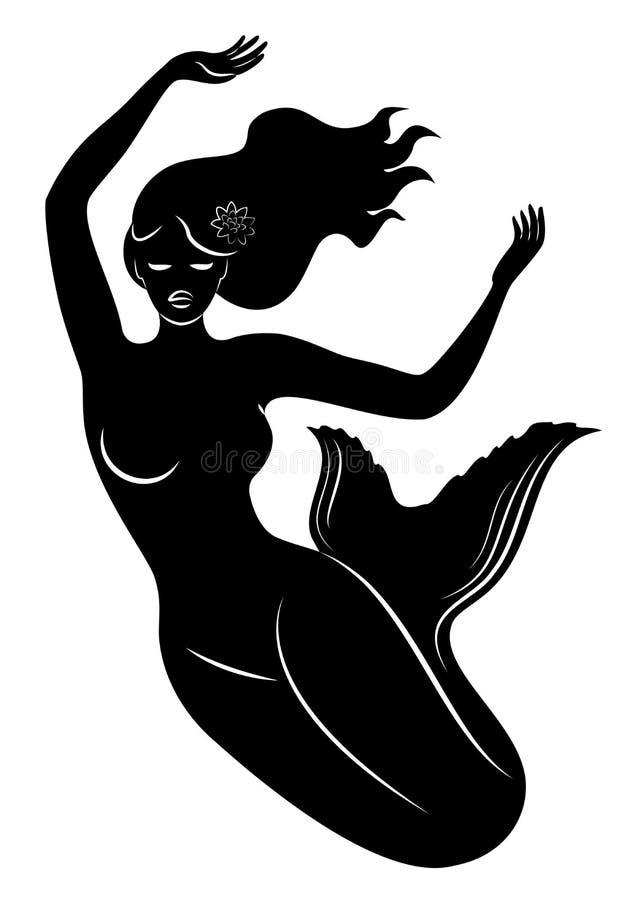 Силуэт русалки Красивая девушка плавает в воду Дама молода и худенька Фантастическое изображение сказки бесплатная иллюстрация