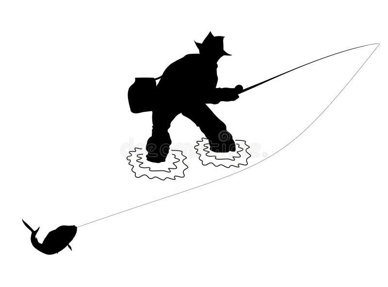 силуэт рыболова бесплатная иллюстрация