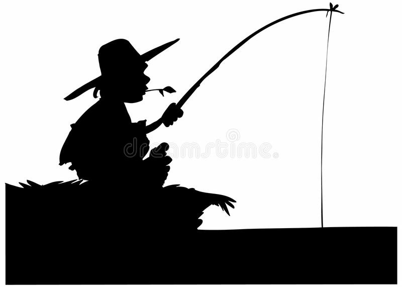силуэт рыболовства мальчика иллюстрация вектора