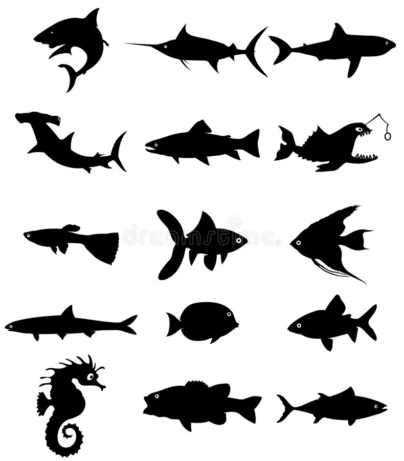 силуэт рыб иллюстрация штока