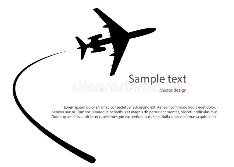 Силуэт самолета принимая  Иллюстрация вектора на изолированной светлой предпосылке, с космосом для текста иллюстрация вектора