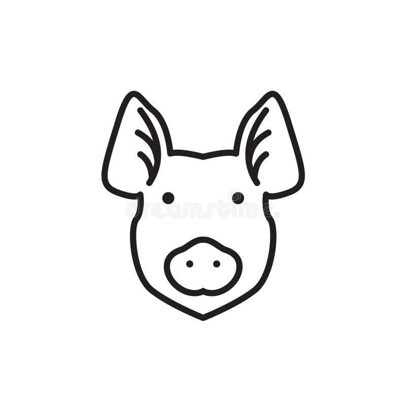 Силуэт свиньи вектора для ретро логотипов, эмблем, значков, элемента дизайна шаблона ярлыков винтажного белизна изолированная пре иллюстрация штока
