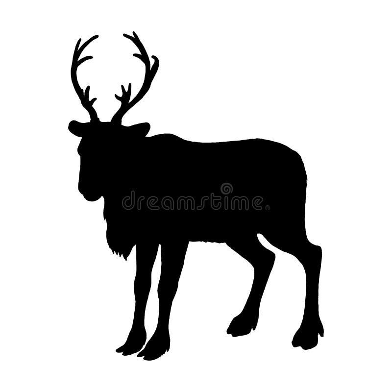 Силуэт северного оленя Черный белый значок Дизайн логотипа рождества также вектор иллюстрации притяжки corel иллюстрация вектора