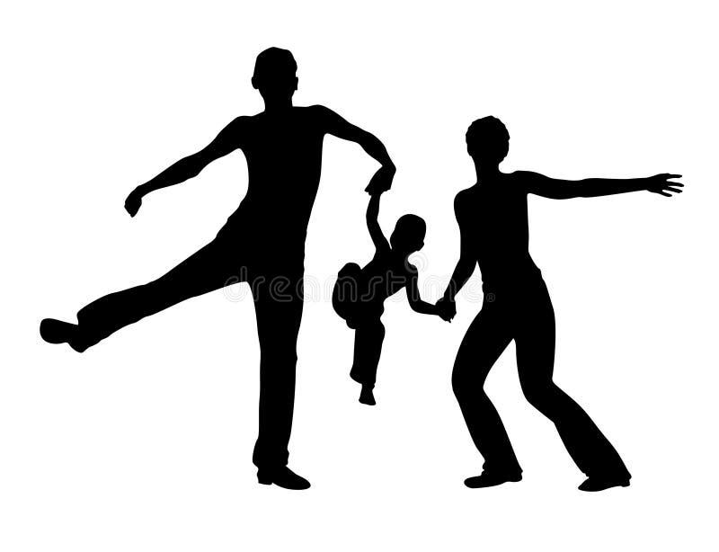 силуэт семьи скача иллюстрация вектора