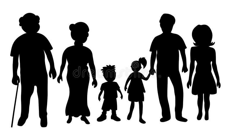 силуэт семьи стоковые фотографии rf