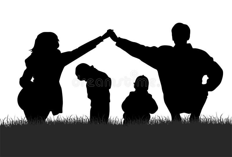 силуэт семьи иллюстрация вектора