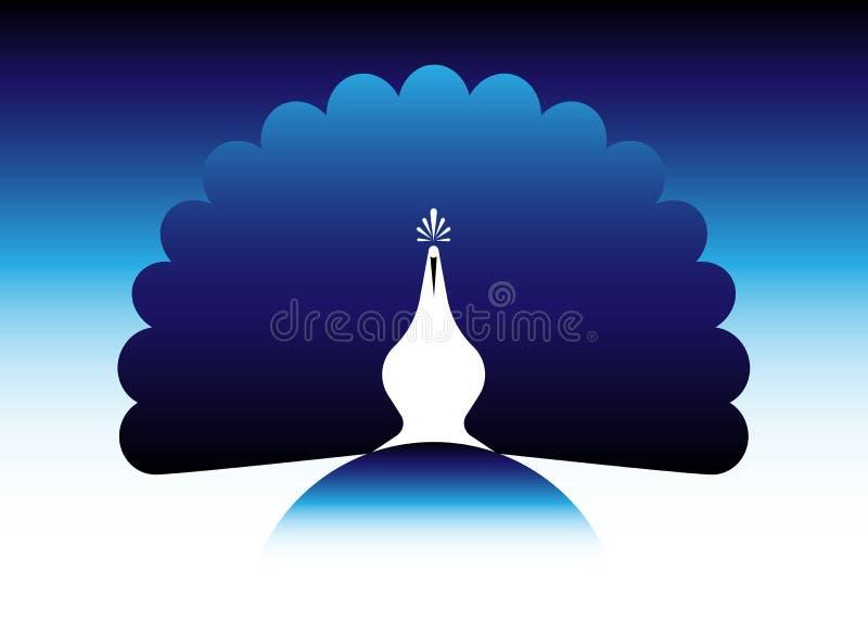 Силуэт сини значка павлина Стиль шаблона вектора дизайна логотипа линейный Ярлык павлина птицы плана с роскошным кабелем павлина иллюстрация вектора