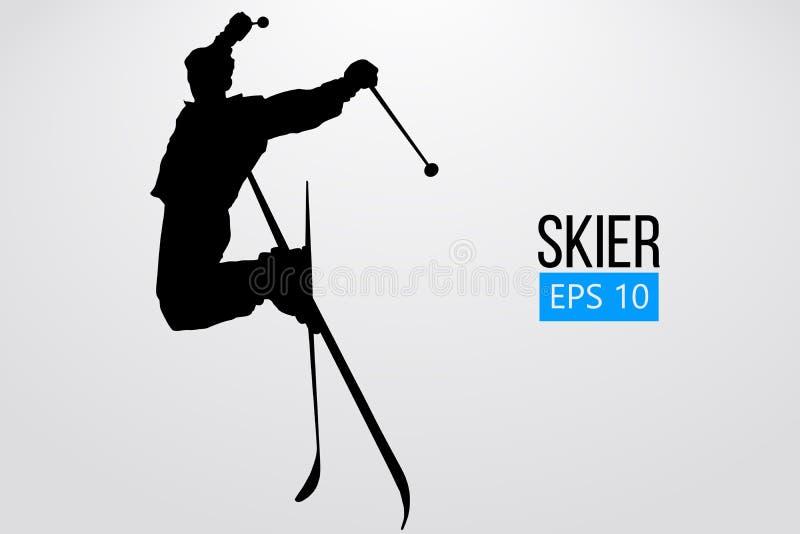 Силуэт скакать лыжника также вектор иллюстрации притяжки corel