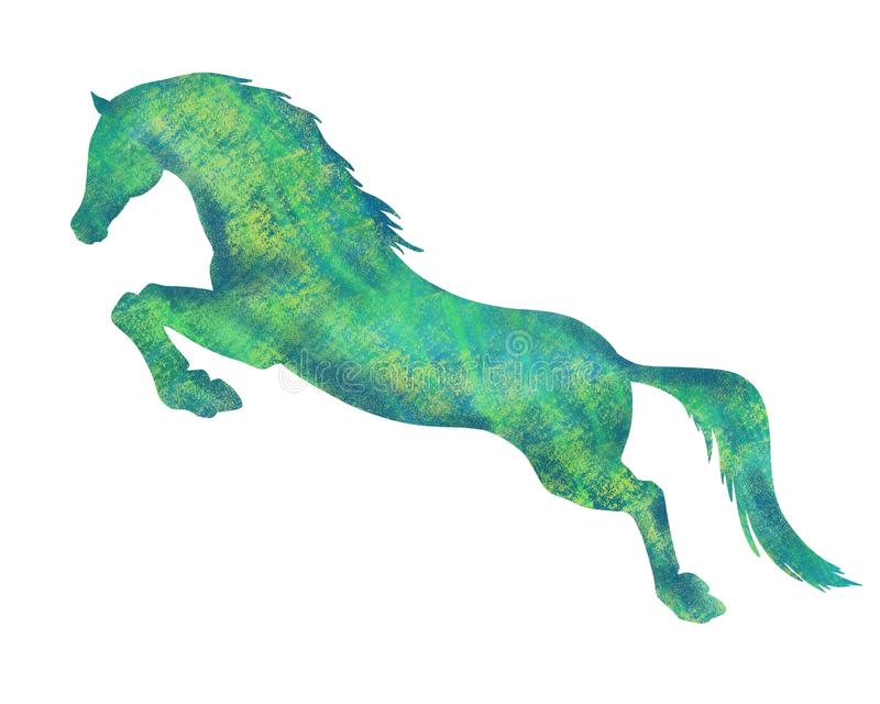 Силуэт скача лошади стоковое фото rf