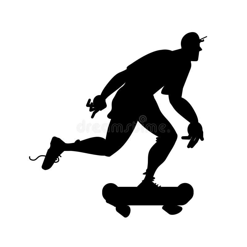 Силуэт скейтбордиста Гай на скейтборде Иллюстрация вектора черно-белая Объект изолированный вырезом иллюстрация вектора