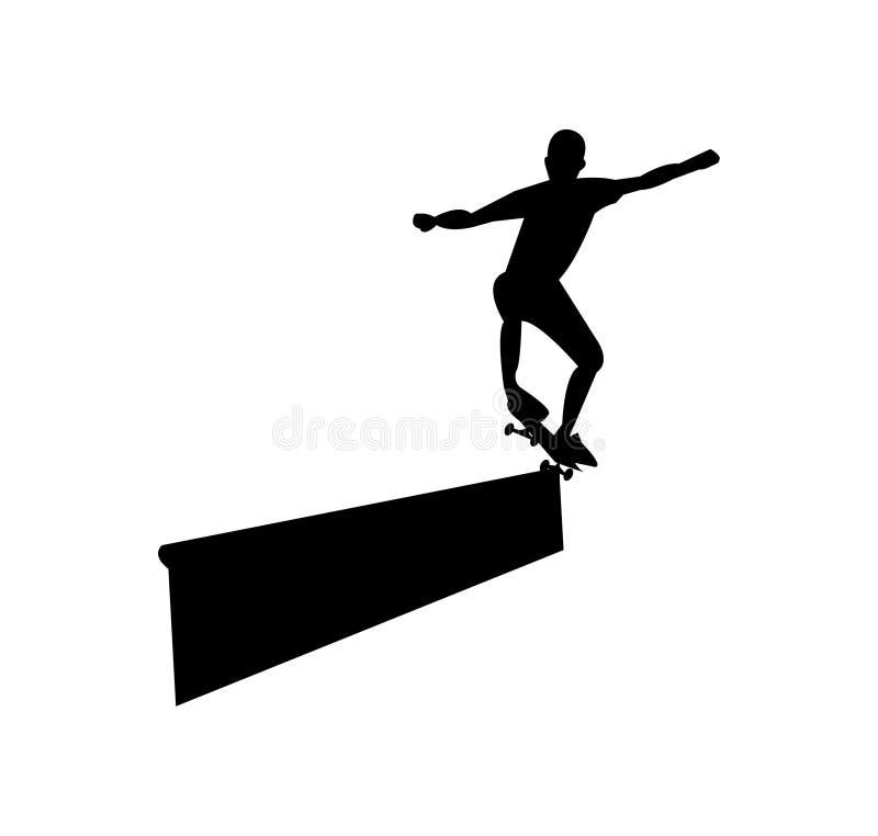 Силуэт скейтбордиста меля, изолированный на белизне иллюстрация штока
