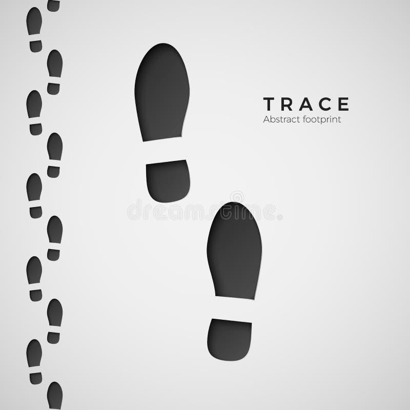 Силуэт следа ноги След потоптанный ботинками Трассировка ботинка Иллюстрация вектора изолированная на белой предпосылке иллюстрация вектора