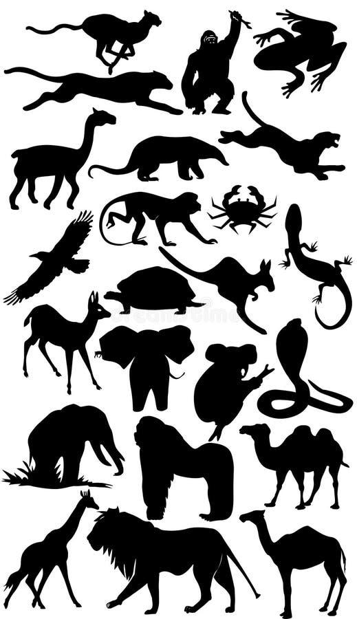 силуэт собрания Африки животный стоковое изображение rf