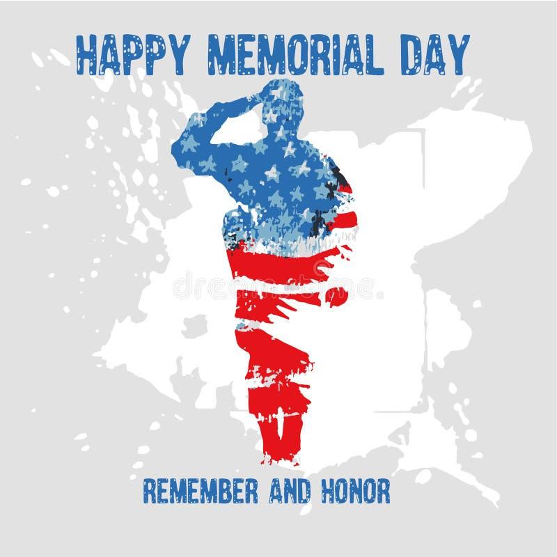 Силуэт солдата салютуя с Днем памяти погибших в войнах текста для того чтобы вспомнить и удостоить E иллюстрация вектора