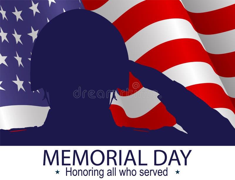 Силуэт солдата салютуя флагу США на День памяти погибших в войнах Удостаивающ всех которые служили лозунг иллюстрация штока