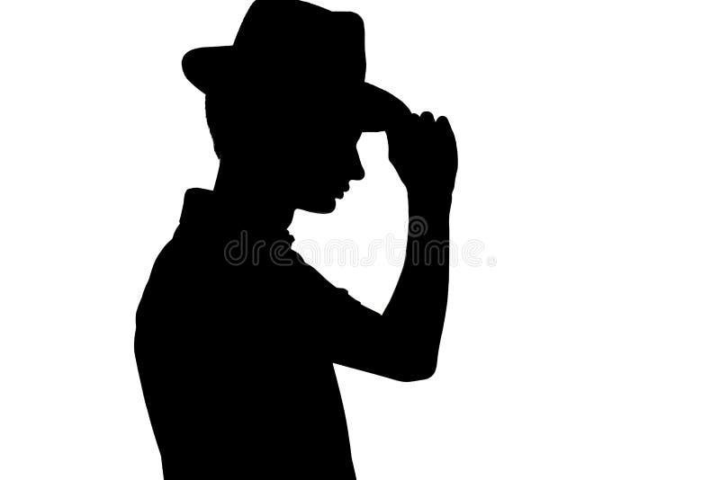 Силуэт стильного молодого человека в шляпе дела, профиле непознаваемой персоны на белизне изолировал предпосылку стоковые фотографии rf