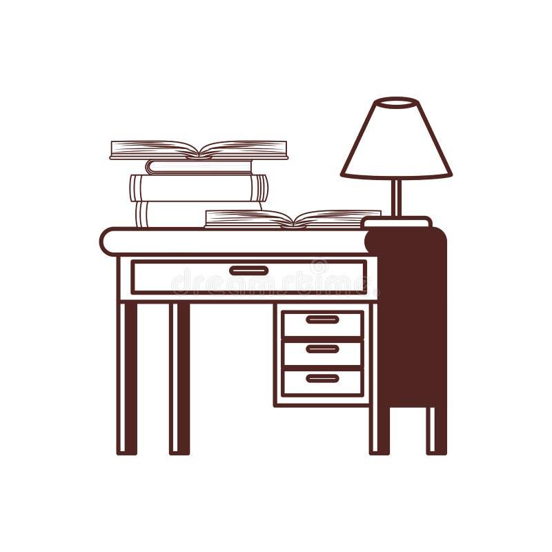 Силуэт стола со стогом книг на белой предпосылке иллюстрация штока