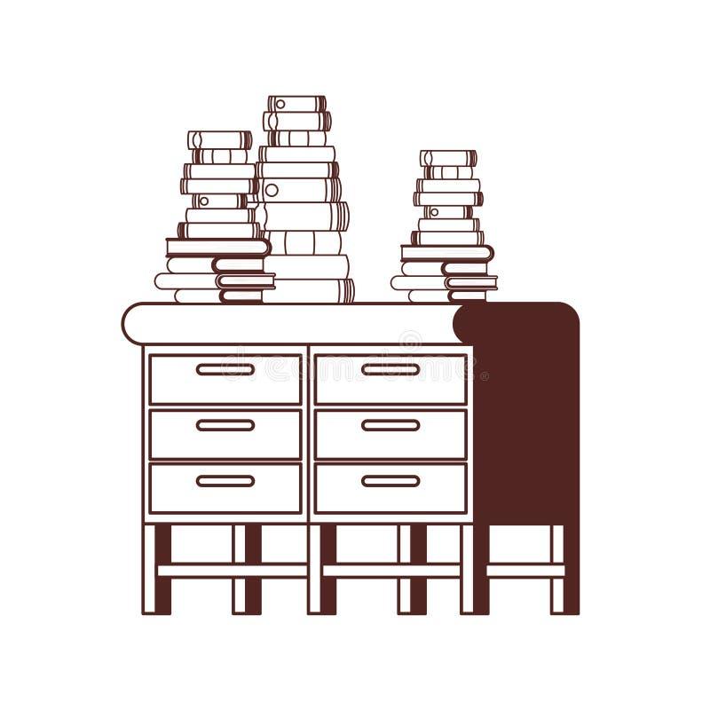 Силуэт стола со стогом книг на белой предпосылке иллюстрация вектора