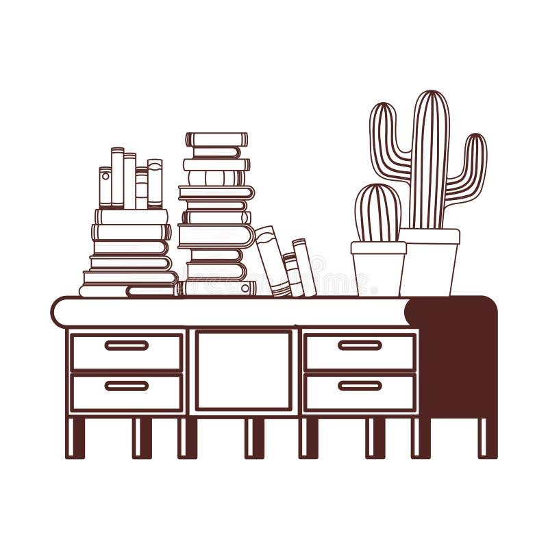Силуэт стола со стогом книг на белой предпосылке бесплатная иллюстрация