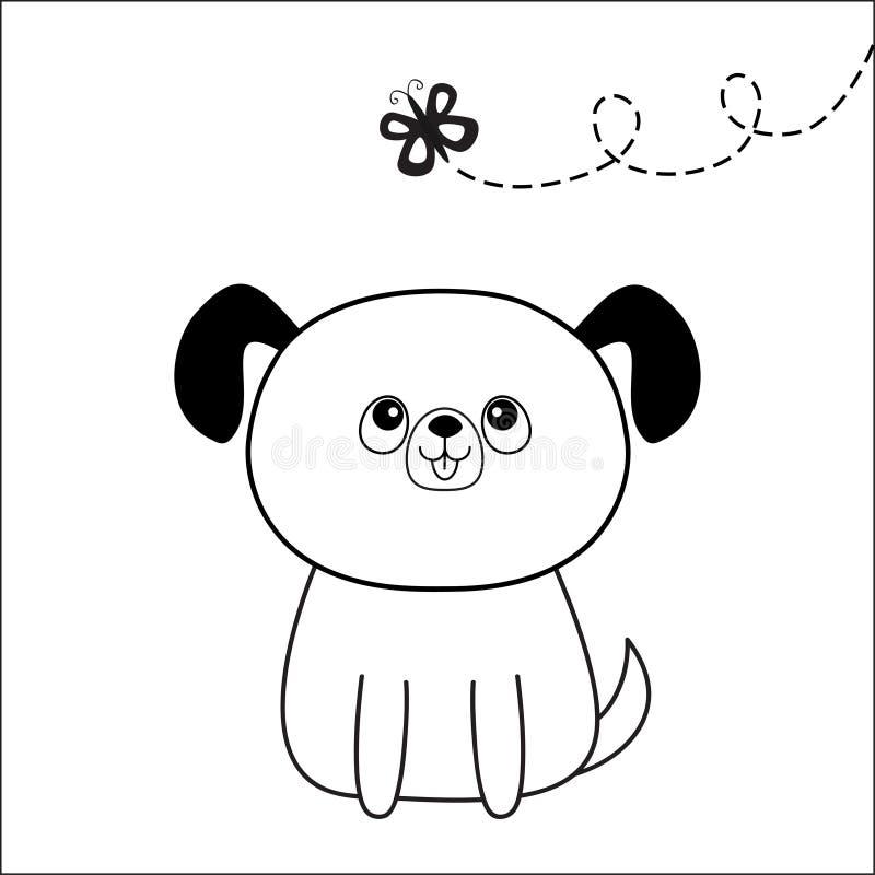 Силуэт стороны головы собаки смотря бабочку Линия контура Характер щенка милого шаржа сидя Животное Kawaii Смешная дворняжка млад иллюстрация вектора