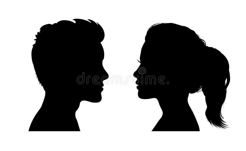 Силуэт стороны человека и женщины Лицом к лицу вектор †значка « иллюстрация штока
