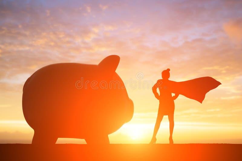 Силуэт супер бизнес-леди стоковые изображения