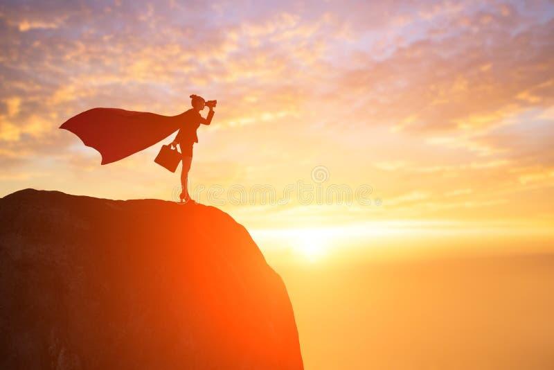 Силуэт супер бизнес-леди стоковое фото